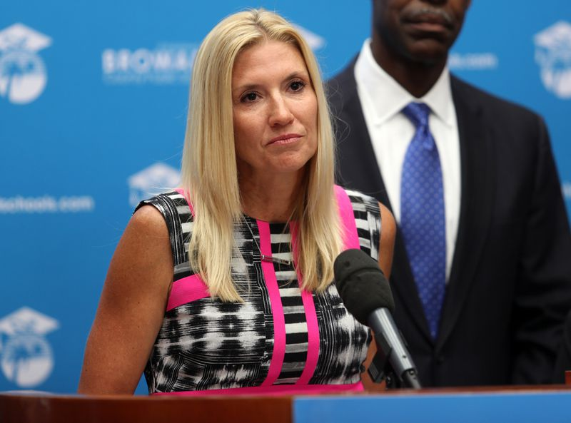 Michelle Kefford is announced as the new principal for Marjory Stoneman Douglas High School during a 2019 news conference. Kefford is one of three finalists for 2021 National Principal of the Year.