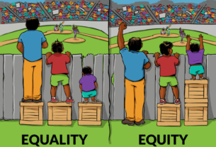 Maguire illustration of the difference between equality and equity