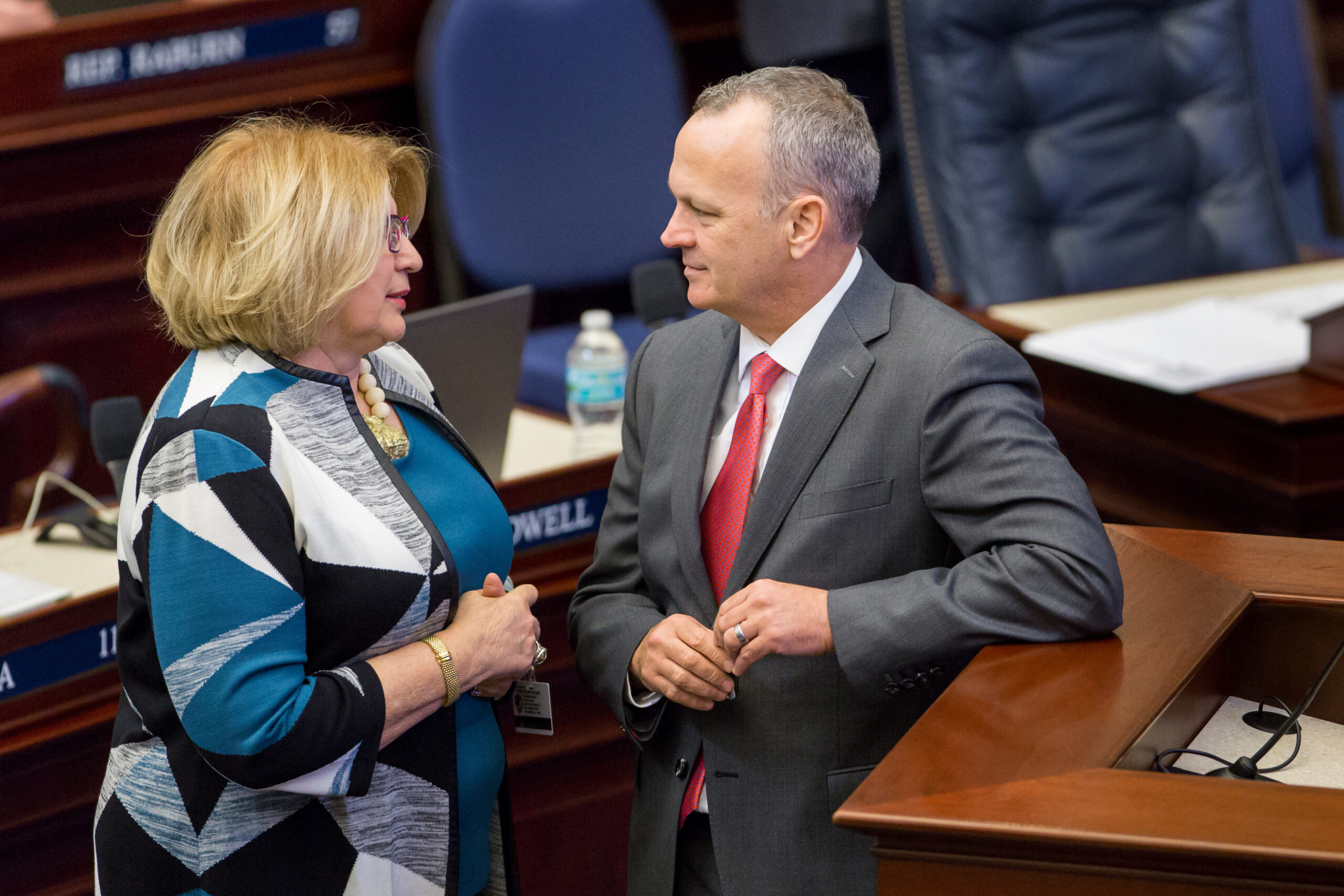 House Democratic Leader Janet Cruz, shown here with House Speaker Richard Corcoran, worries Hispanic communities face bigger challenges with returning to school.